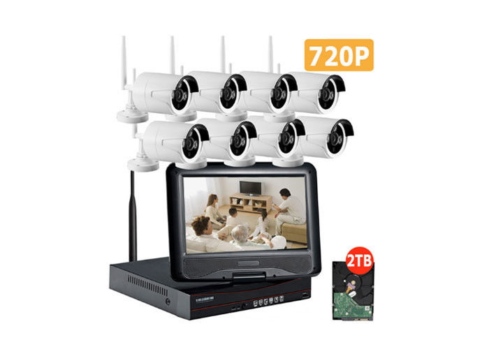 IP66 8 Camera Wireless Cctv Systems / 720p Wireless Cctv Kits For Home Security