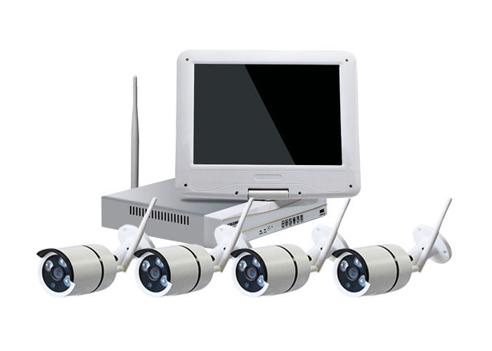 10 Inch LCD WiFi CCTV Camera Kit , IR Bullet 4 Camera Security System Max 4TB HDD