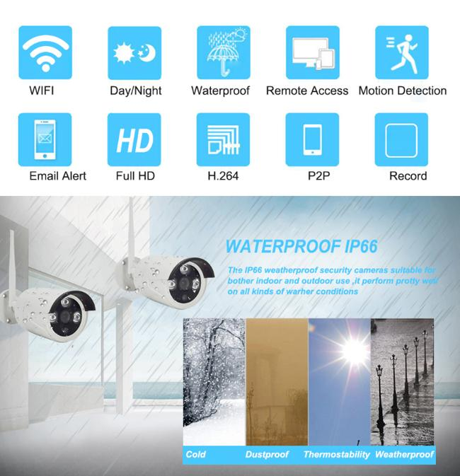 Waterproof Wireless 8 Channel Cctv Kit With NVR For Industrial Buildings