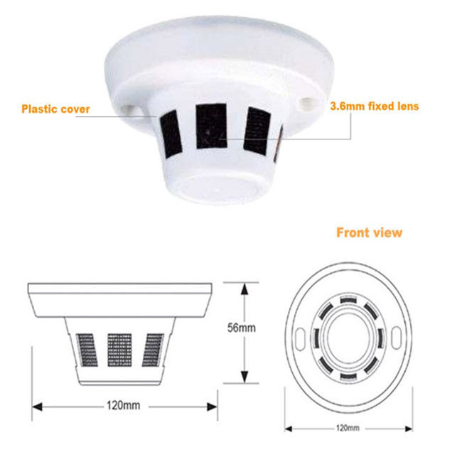 3.0 Megapixel Mini Smoke Detector Hidden Camera Audio Optional POE 3.6mm Lens
